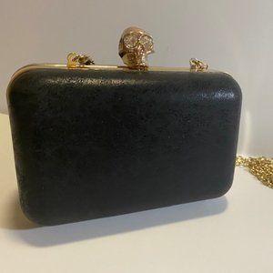 Handbags - Diamond skull head leather box clutch